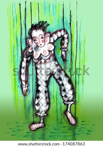 Dummy marionette harlequin. Watercolor drawing - stock photo