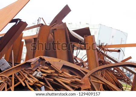 dump in the north, mountains of not taken out garbage - stock photo