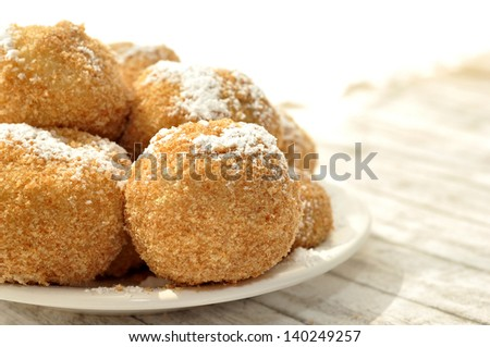 Dumplings with plums - stock photo
