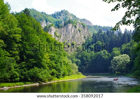 Dunajec river in Pieniny mountains - Poland - stock photo