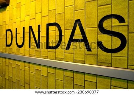 Dundas station sign - stock photo