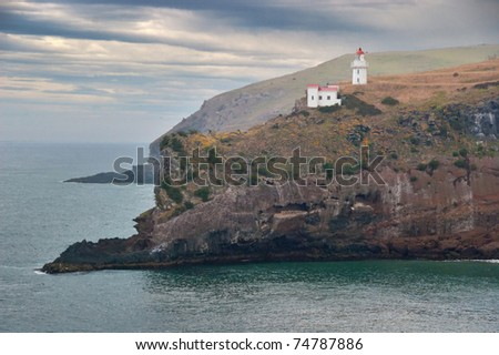 Dunedin lighthouse on cliff - stock photo