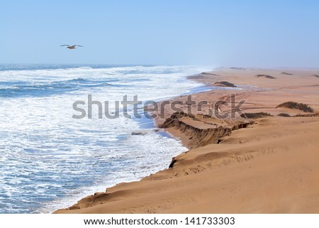 Dunes and sea in Namibia - stock photo