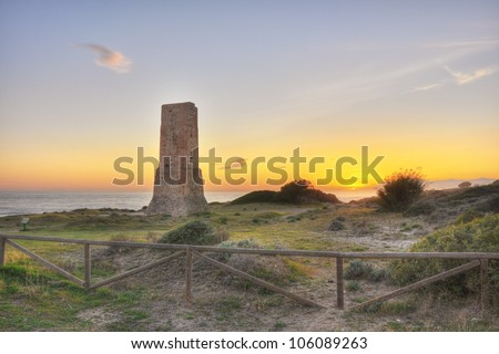 Dunes of Artola,Costa del Sol - a natural area that serves as a witness, what was a long time ago, the coast of Malaga, surprised at sunset. - stock photo