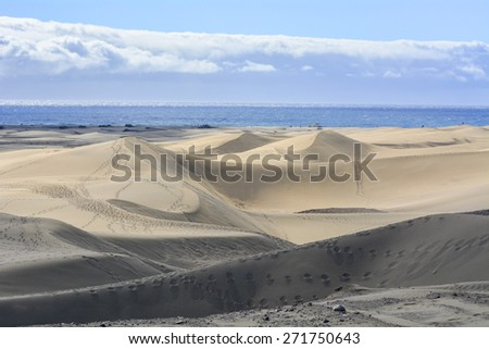 Dunes of Maspalomas in Gran Canaria, Canary Islands, Spain - stock photo