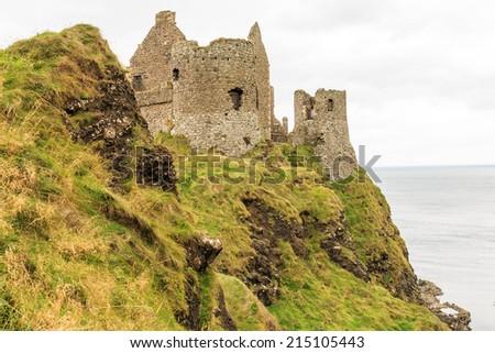 Dunluce castle in colour - stock photo