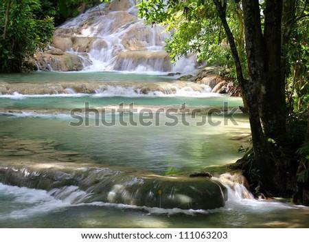 Dunn's River Falls, Jamaica. - stock photo