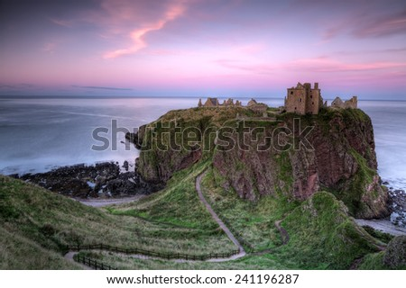 Dunnottar Castle in Scotland - stock photo