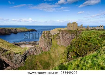 Dunnottar Castle near Stonehaven in Aberdeenshire, Scotland. - stock photo