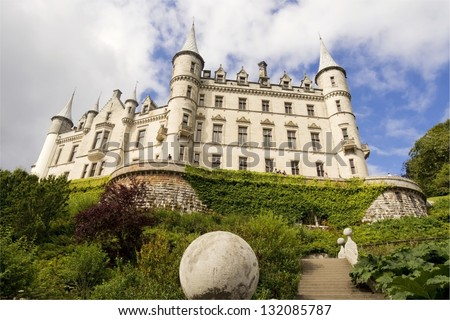 Dunrobin Castle in Scotland view from below - stock photo