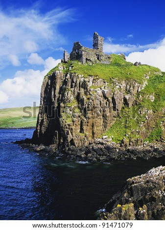 duntulm castle on the isle of skye in Scotland, Great Britain UK - stock photo