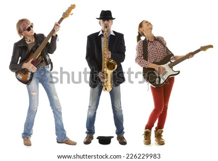 Duo woman guitar saxophone and man with saxophone and saxophone on a white background - stock photo