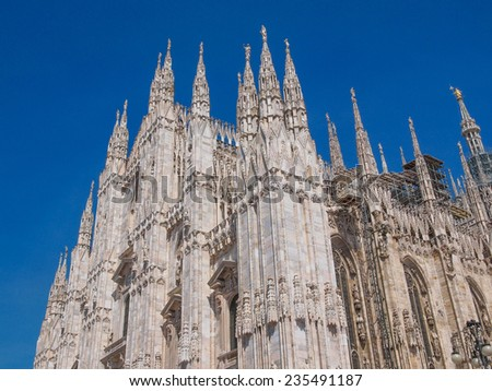 Duomo di Milano gothic cathedral church Milan Italy - stock photo