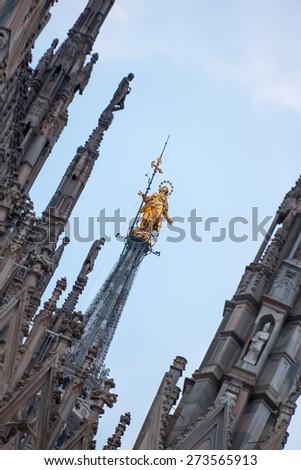 Duomo di Milano (Milan Cathedral) and Piazza del Duomo at night, Milan, Italy - stock photo