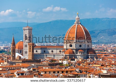 Duomo Santa Maria Del Fiore and Bargello in the morning from Piazzale Michelangelo in Florence, Tuscany, Italy - stock photo