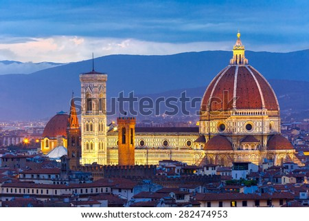 Duomo Santa Maria Del Fiore at twilight from Piazzale Michelangelo in Florence, Tuscany, Italy - stock photo
