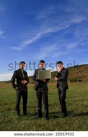 Duplicates in the middle of the field inspecting results. - stock photo