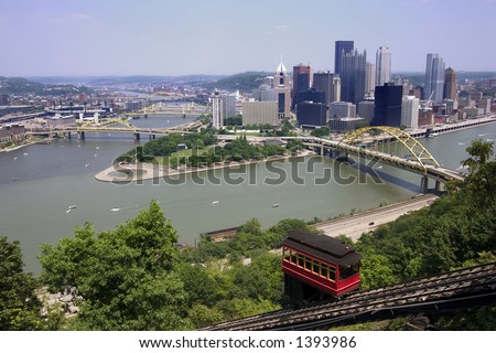 Duquesne Incline, Pittsburgh, Pennsylvania - stock photo