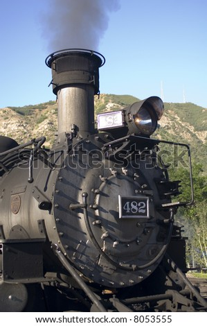 Durango & Silverton Narrow Gauge Railroad - Engine 482 - 2-8-2 Mikado Type - Durango, CO - stock photo