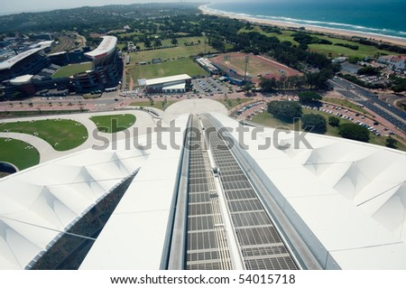 DURBAN - APRIL  5: view from the sky lift that takes fans above the Moses Mabhida stadium of Durban, april 5, 2010 Durban, South Africa - stock photo