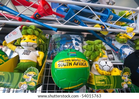 DURBAN - MAY 04:  vuvuzela and other gadgets displayed in the official merchandising shop inside the stadium may 04 2010 in Durban, SouthAfrica - stock photo