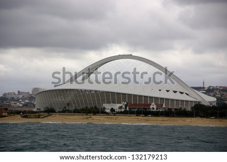 DURBAN - NOVEMBER 29: the Moses Mabhida stadium of Durban on November 29, 2009 in Durban, South Africa. It was one of the host stadiums for the 2010 FIFA World Cup. - stock photo