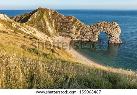 Durdle door on the Jurassic Coast near Lulworth in Dorset, England. - stock photo