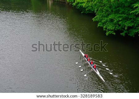 DURHAM - JUNE 14 : River Wear at 14 June 2015 in Durham, England. Local sportsmen are training in the river. - stock photo