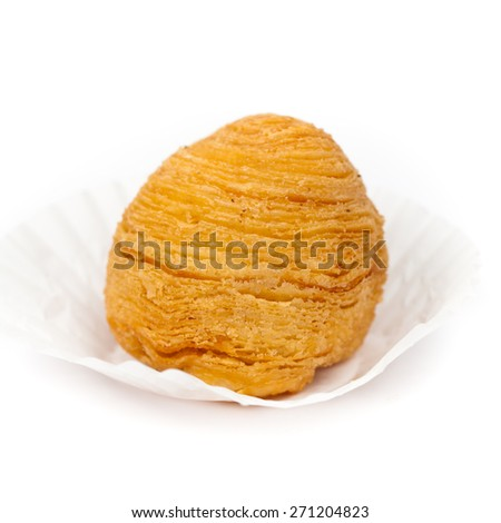 Durian Puff on white background. Macro. Shallow dof. Selective soft focus. - stock photo