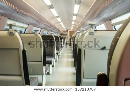 during a ride on the double-decker train , there was no people present - stock photo