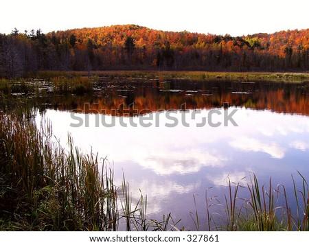 Dusk at Gatineau Hills - stock photo