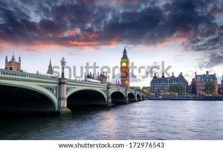 Dusk at Westminster Bridge and Big Ben in London - stock photo