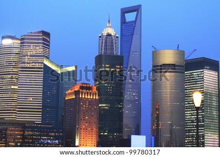 Dusk blue sky in the Far East Shanghai cityscape background - stock photo