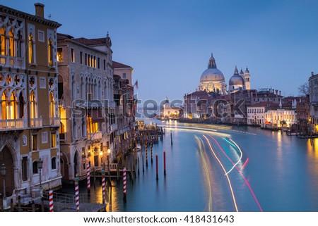 dusk in Venice, Italy - stock photo
