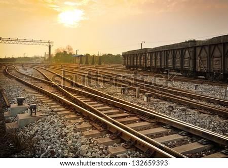 Dusk, Motion Blur freight train. - stock photo
