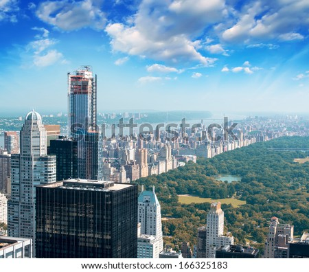 Dusk over Central Park in New York. Magnificent aerial view. - stock photo