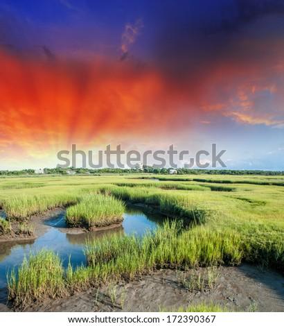 Dusk over Massachusetts countryside. - stock photo