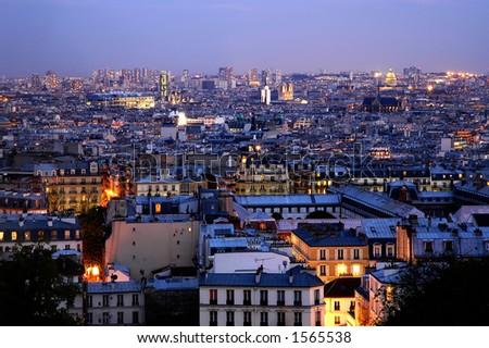 Dusk over Paris - panoramics - stock photo