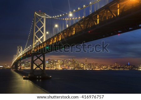 Dusk over San Francisco Bay Bridge and Skyline from Yerba Buena Island