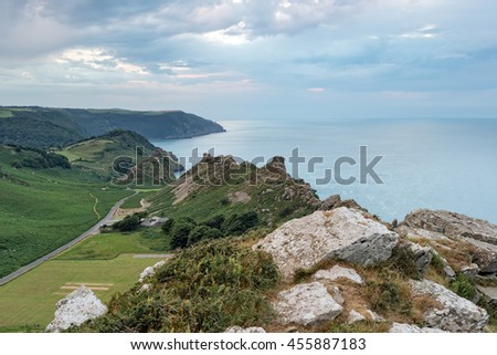 Dusk over the Valley of the Rocks at Lymouth on the north coast of Devon - stock photo