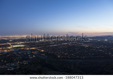 Dusk sky over Los Angeles, Pasadena and Glendale in Southern California. - stock photo
