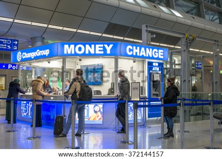 Dusseldorf, Germany- February 4, 2016: Money Change Service at Dusseldorf International Airport.Dusseldorf Airport located in North Rhine Westphalia and is the 3 largest Airport in Germany. - stock photo