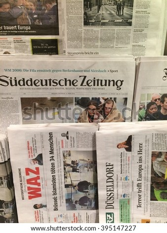 Dusseldorf,Germany- March 23,2016: Popular german newspaper a day after terror attacks in Brussels  in a store in Dusseldorf,Germany. - stock photo