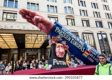DUSSELDORF, GERMANY - MARCH 13, 2016: Shot at Carnival parade in city center on march 13, 2016 Dusseldorf, Germany - stock photo
