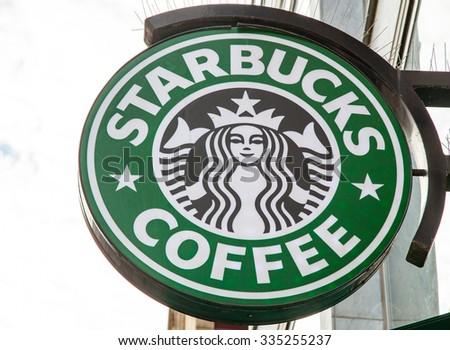 DUSSELDORF, GERMANY - NOVEMBER, 2015: Starbucks storefront sign - stock photo