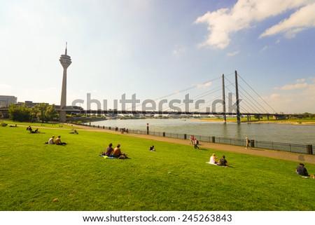 DUSSELDORF, GERMANY - SEP 16: Rhine river on September 16, 2014. Dusseldorf is the capital city of the German state of North Rhine-Westphalia and centre of the Rhine-Ruhr metropolitan region. - stock photo