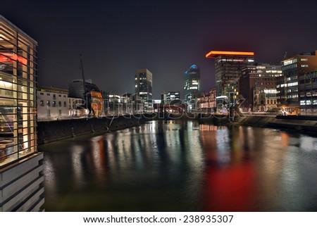 Dusseldorf media harbor at night - stock photo