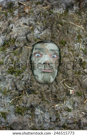 dust allergy concept uncertain male face expression - stock photo