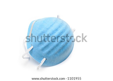 dust mask closeup isolated over white background - stock photo