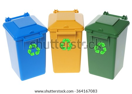 Dustbins in the colors blue, yellow and green isolated over a white background / Dustbins - stock photo